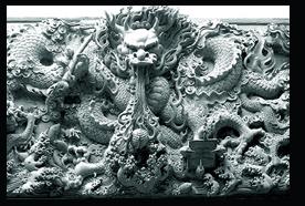 浮雕透雕九龙壁雕刻